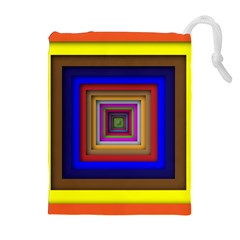 Square Abstract Geometric Art Drawstring Pouches (Extra Large)