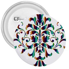 Damask Decorative Ornamental 3  Buttons