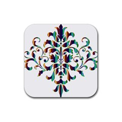 Damask Decorative Ornamental Rubber Coaster (square)