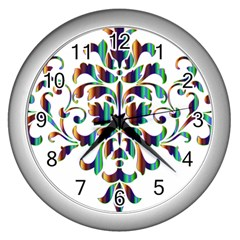 Damask Decorative Ornamental Wall Clocks (Silver)