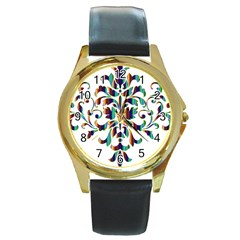 Damask Decorative Ornamental Round Gold Metal Watch