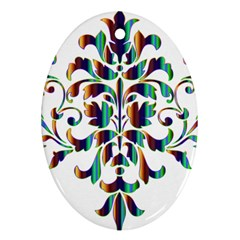 Damask Decorative Ornamental Oval Ornament (two Sides)