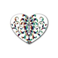 Damask Decorative Ornamental Rubber Coaster (heart)