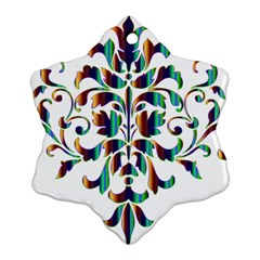 Damask Decorative Ornamental Snowflake Ornament (two Sides)