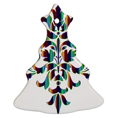 Damask Decorative Ornamental Christmas Tree Ornament (two Sides)