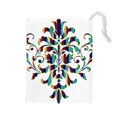 Damask Decorative Ornamental Drawstring Pouches (large)