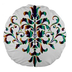 Damask Decorative Ornamental Large 18  Premium Flano Round Cushions