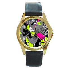 Nameless Fantasy Round Gold Metal Watch