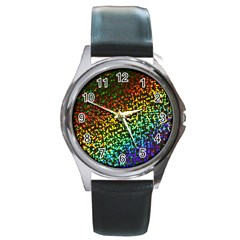 Construction Paper Iridescent Round Metal Watch