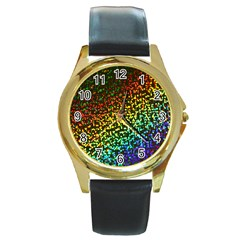 Construction Paper Iridescent Round Gold Metal Watch