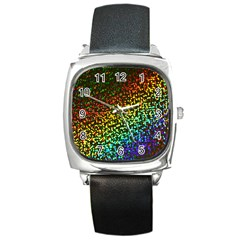 Construction Paper Iridescent Square Metal Watch