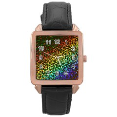 Construction Paper Iridescent Rose Gold Leather Watch