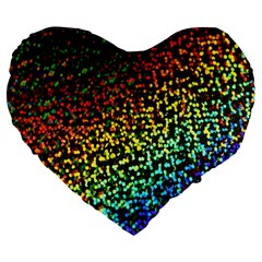 Construction Paper Iridescent Large 19  Premium Flano Heart Shape Cushions
