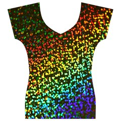 Construction Paper Iridescent Women s V-Neck Cap Sleeve Top