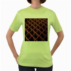 Metal Grid Framework Creates An Abstract Women s Green T-Shirt