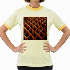 Metal Grid Framework Creates An Abstract Women s Fitted Ringer T-Shirts