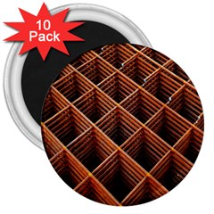 Metal Grid Framework Creates An Abstract 3  Magnets (10 Pack)
