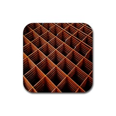 Metal Grid Framework Creates An Abstract Rubber Square Coaster (4 Pack)