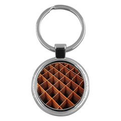 Metal Grid Framework Creates An Abstract Key Chains (Round)