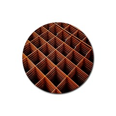 Metal Grid Framework Creates An Abstract Rubber Coaster (Round)