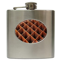 Metal Grid Framework Creates An Abstract Hip Flask (6 Oz)