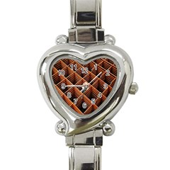 Metal Grid Framework Creates An Abstract Heart Italian Charm Watch