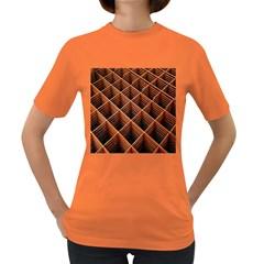 Metal Grid Framework Creates An Abstract Women s Dark T-Shirt