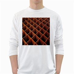 Metal Grid Framework Creates An Abstract White Long Sleeve T Shirts