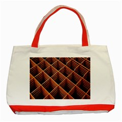 Metal Grid Framework Creates An Abstract Classic Tote Bag (Red)