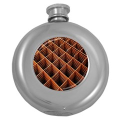 Metal Grid Framework Creates An Abstract Round Hip Flask (5 Oz)