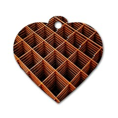 Metal Grid Framework Creates An Abstract Dog Tag Heart (one Side)