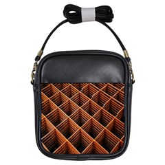 Metal Grid Framework Creates An Abstract Girls Sling Bags
