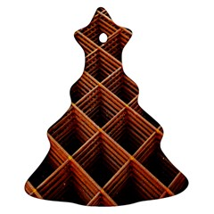 Metal Grid Framework Creates An Abstract Christmas Tree Ornament (Two Sides)