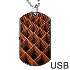 Metal Grid Framework Creates An Abstract Dog Tag Usb Flash (one Side)