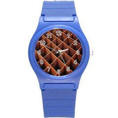 Metal Grid Framework Creates An Abstract Round Plastic Sport Watch (s)