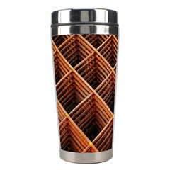 Metal Grid Framework Creates An Abstract Stainless Steel Travel Tumblers
