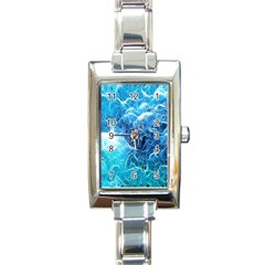 Fractal Occean Waves Artistic Background Rectangle Italian Charm Watch