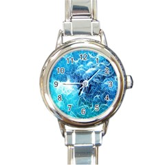 Fractal Occean Waves Artistic Background Round Italian Charm Watch