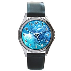 Fractal Occean Waves Artistic Background Round Metal Watch