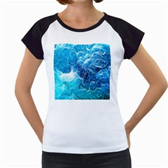 Fractal Occean Waves Artistic Background Women s Cap Sleeve T