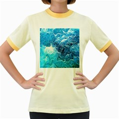 Fractal Occean Waves Artistic Background Women s Fitted Ringer T Shirts