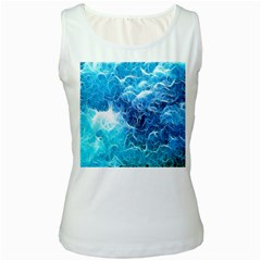 Fractal Occean Waves Artistic Background Women s White Tank Top