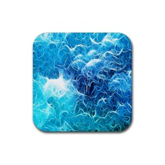 Fractal Occean Waves Artistic Background Rubber Square Coaster (4 pack)