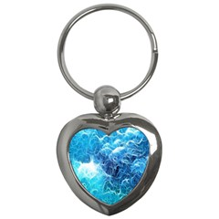 Fractal Occean Waves Artistic Background Key Chains (heart)
