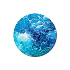 Fractal Occean Waves Artistic Background Rubber Round Coaster (4 Pack)