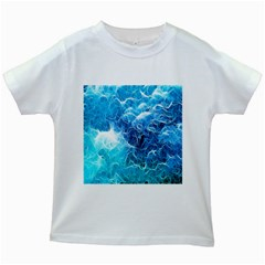 Fractal Occean Waves Artistic Background Kids White T Shirts