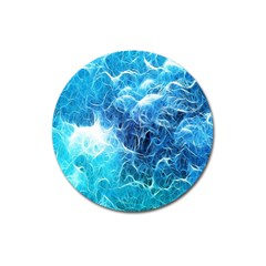 Fractal Occean Waves Artistic Background Magnet 3  (Round)