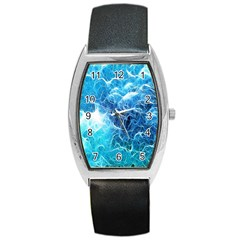 Fractal Occean Waves Artistic Background Barrel Style Metal Watch