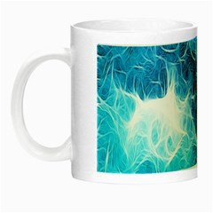 Fractal Occean Waves Artistic Background Night Luminous Mugs