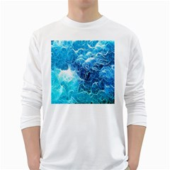 Fractal Occean Waves Artistic Background White Long Sleeve T Shirts